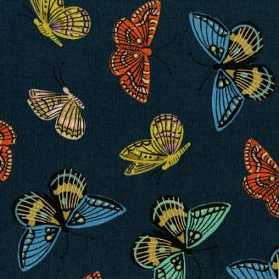 English Garden - Monarch - Navy Canvas Metallic Fabric