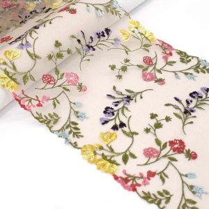 """8.25"""" Floral Garden Multi Embroidered Tulle Lace Non-Stretch"""