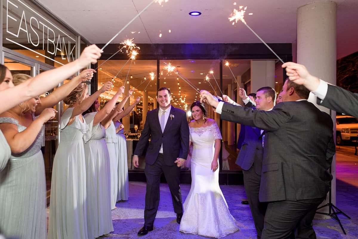 Eastbank wedding reception sparkler exit