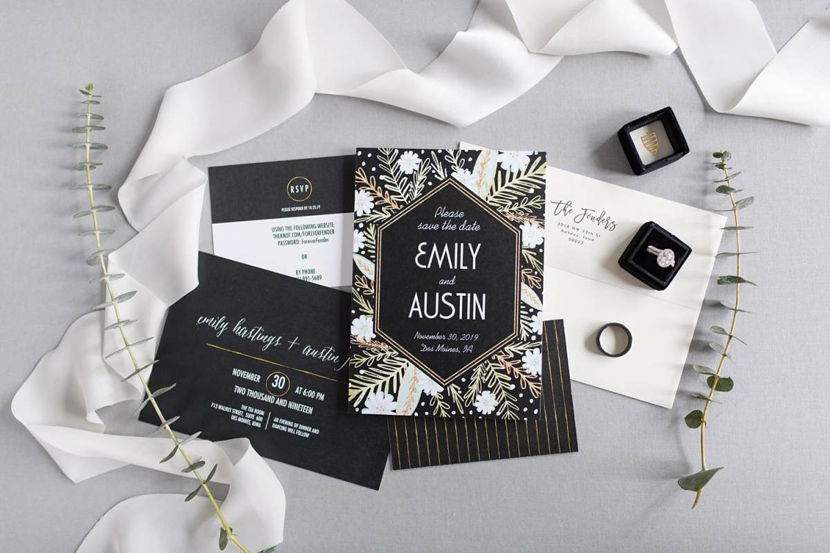 black and gold invitation suite