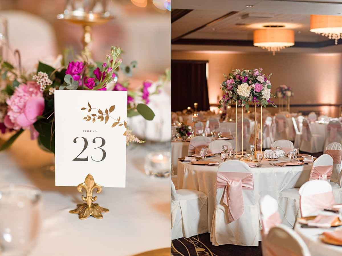 blush and gold wedding reception in west des moines hilton