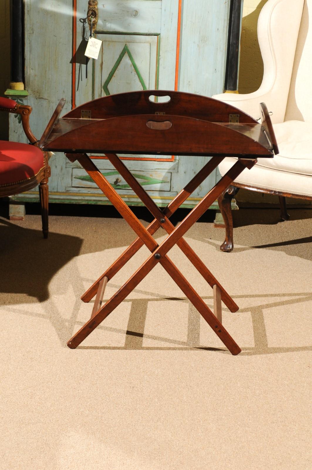 English Mahogany Butler's Tray on Folding Stand, 19th ... on Corner Sconce Shelf Tray id=31873