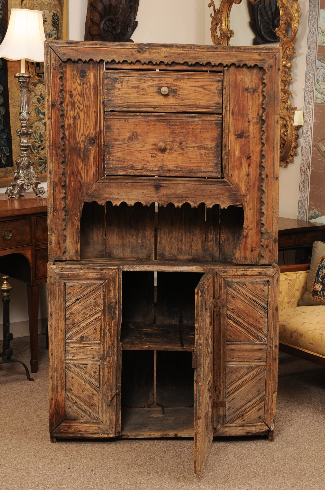 17th Century Spanish Pine Cabinet with 2 Drawers & Open ... on Corner Sconce Shelf Cabinet id=37197