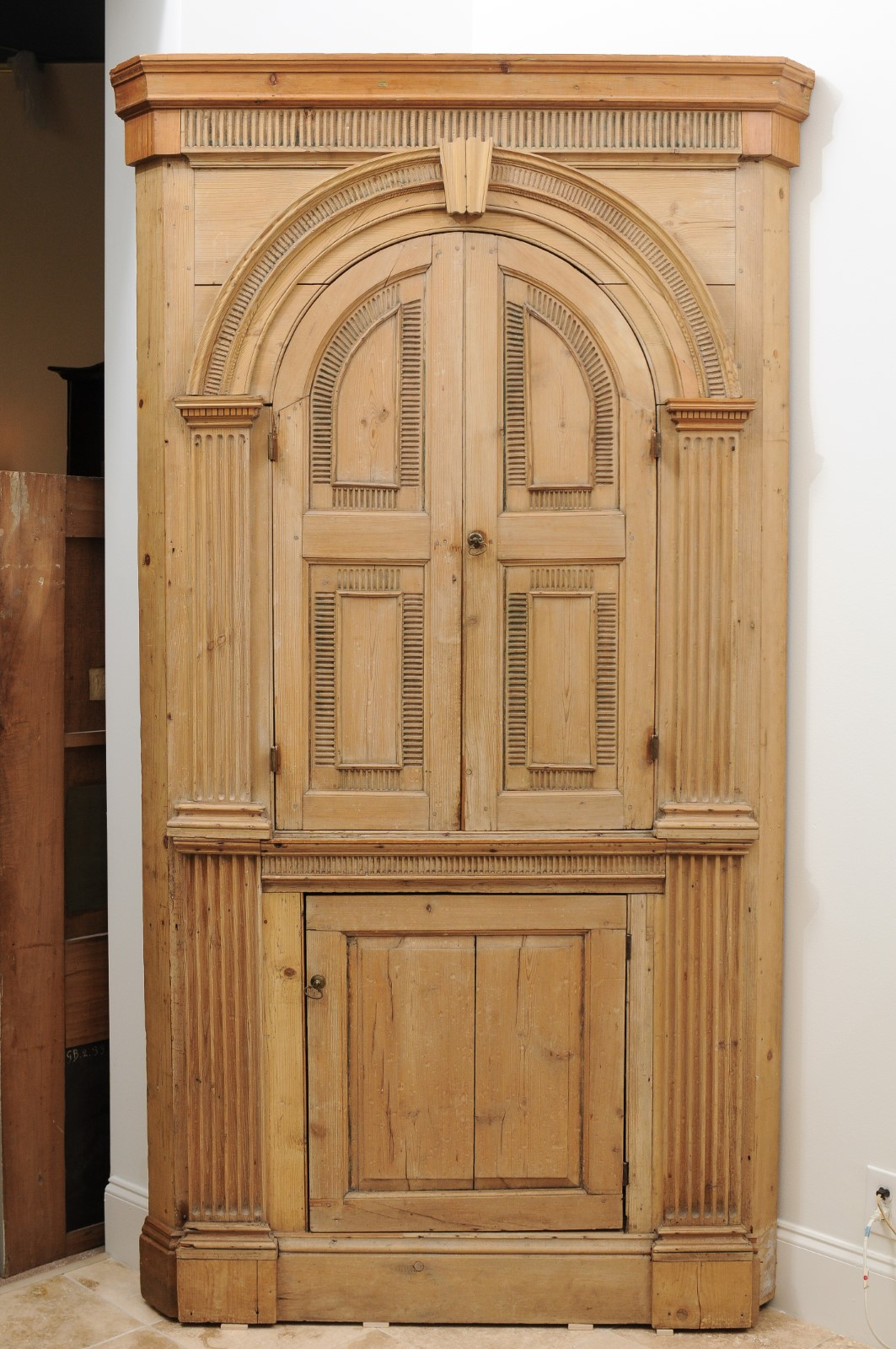 19th Century English Pine Corner Cupboard with Arched ... on Corner Sconce Shelf Cabinet id=22098