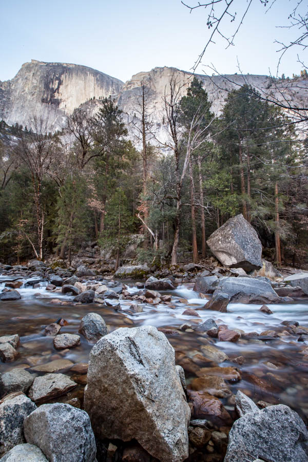 Tenaya Creek and Half Dome on the Mirror Lake Trail at Yosemite National Park #vezzaniphotography