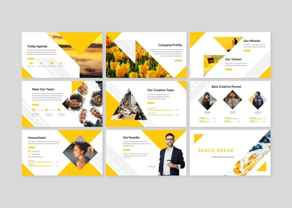 Renggel PowerPoint Template - Yellow and White Triangle Theme