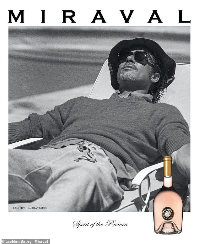 ¿Vino no?  Brad Pitt exuda relajación cuando aparece en el último anuncio de la última incorporación a su línea de vinos, Miraval Rosé.
