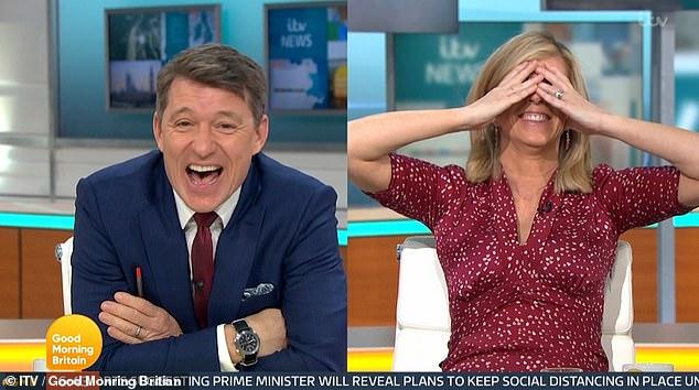 Cara roja: Kate Garraway dejó el estudio de GMB histérica cuando elogió a su lechero Mick por 'ofrecer sus extras' en una insinuación accidental el viernes.