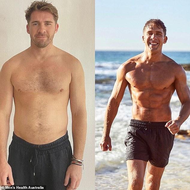 ¡Mira el paquete de seis en este Rafter!  Hugh Sheridan, de 34 años, ha revelado su increíble transformación corporal.  Se le muestra a la izquierda, 12 semanas antes de destrozar su peso, y a la derecha, después