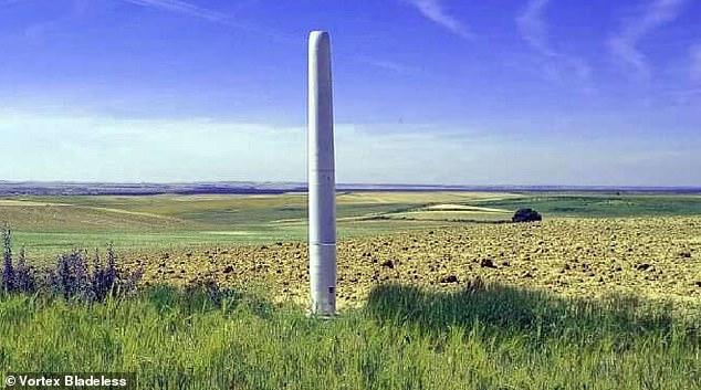 La turbina Vortex Bladeless (en la foto) es más silenciosa y ocupa mucho menos espacio que una turbina eólica tradicional, y representa una pequeña amenaza para las aves.