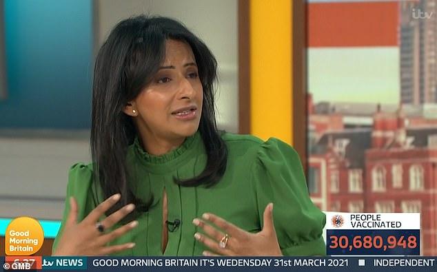 ¡De ninguna manera!  El presentador de Good Morning Britain, Ranvir Singh, se enfrentó al aire con su coprotagonista, la Dra. Hilary Jones, después de que mencionara usar máscaras en la playa para evitar la propagación del Covid.