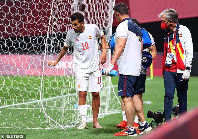 Dani Ceballos se vio obligado a cojear lesionado contra Egipto en el primer partido de los Juegos Olímpicos de Tokio en España
