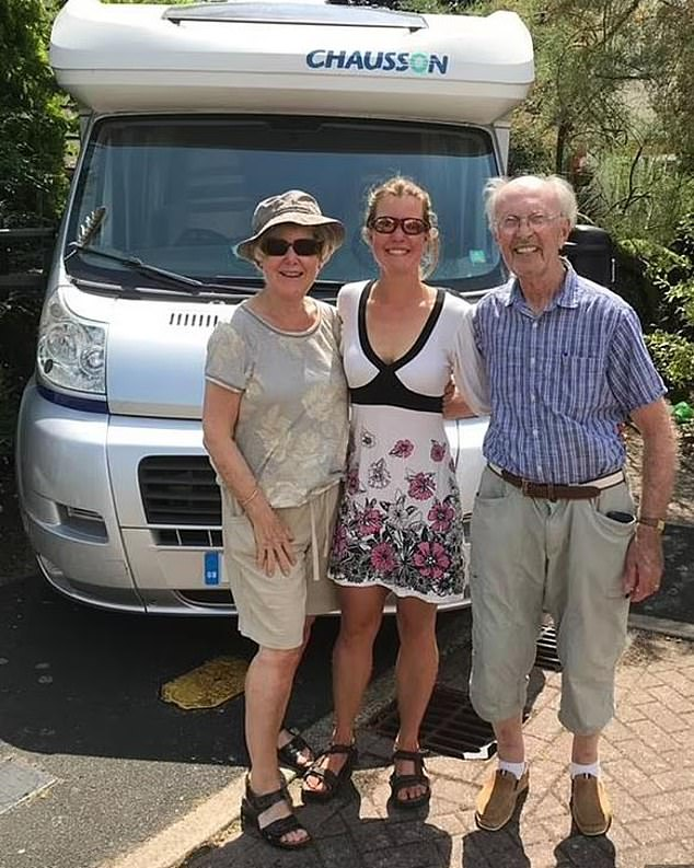 Ria Bryant, 74, the mother of missing British hiker Esther Dingley, is set to provide DNA samples to French authorities after a human skull was found in the Pyrenees. Pictured:Ria, in June 2020 with Esther (middle), and her partner Terry (right)