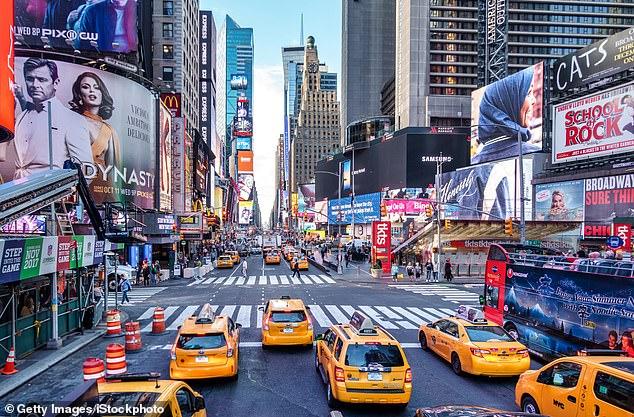 Vibrante: el famoso Times Square de Nueva York, que actualmente está fuera del alcance de los turistas del Reino Unido