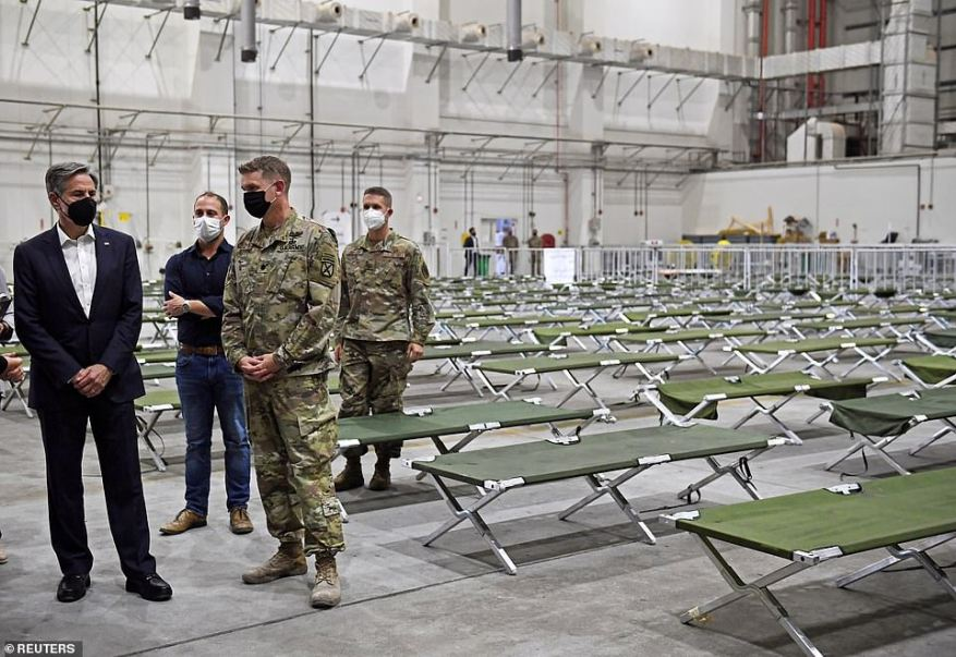Secretary of State Antony Blinken toured a processing center for Afghan refugees at the al-Udeid Air Base in Doha, Qatar on Tuesday