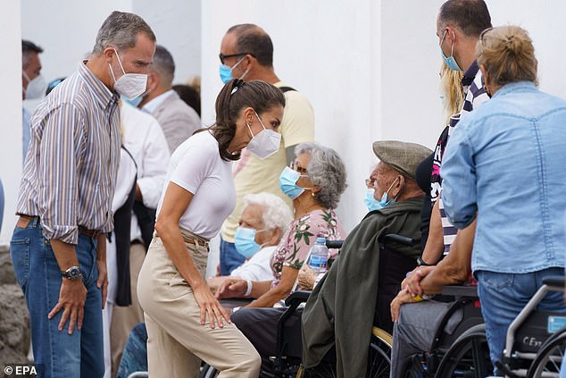 Queen Letizia of Spain and her husband King Felipe met those who were evacuated after a volcanic eruption on Le Palma swallowed hundreds of homes