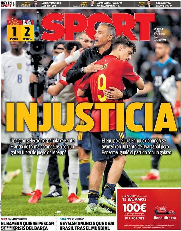 La prensa española ha criticado la decisión del funcionario de permitir que el ganador de Kylian Mbappé con Francia esté en la final de la UEFA Nations League.  El titular de SPORT del lunes decía: 'Injusticia'