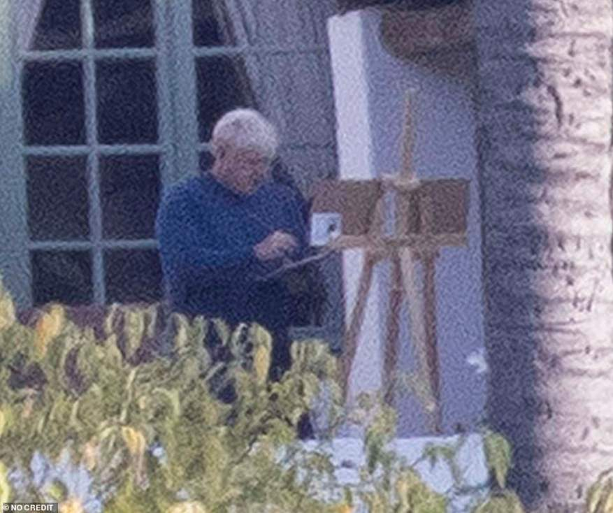 Boris Johnson is back at his easel today after brushing off criticism that he is painting in Spain while Britain battles multiple crises