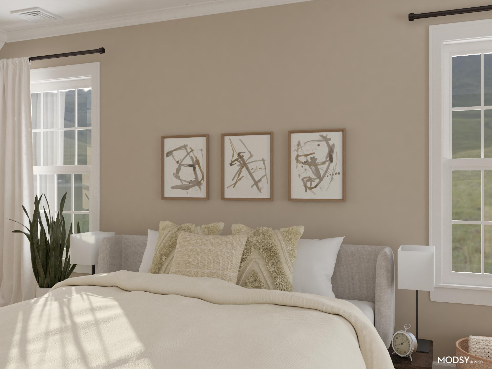 Restful Neutral Bedroom | Minimalist-Style Bedroom Design ... on Neutral Minimalist Bedroom Ideas  id=38034