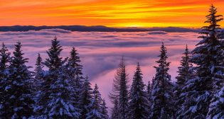 Winter Inversion Sunset