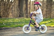 On of my son's first rides on a pedal bike.