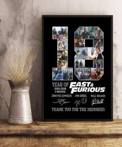 18 Years Of Fast And Furious Thank You For The Memories Signed Poster Canvas