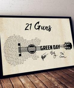 21 Guns Green Day Lyric Guitar Typography Signed Poster Canvas