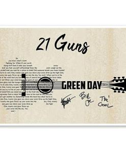 21 Guns Green Day Lyric Guitar Typography Signed Poster