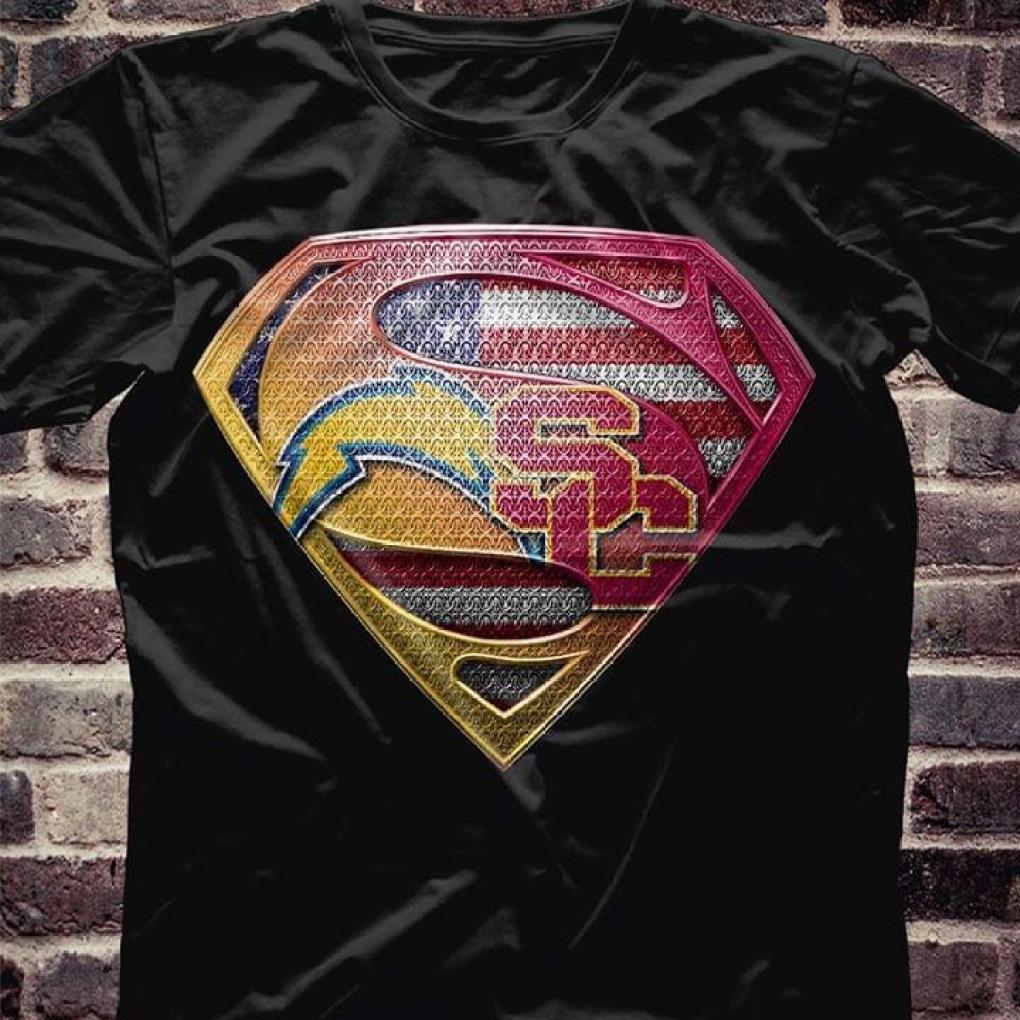 Los Angeles Chargers Usc Trojans Superman Logo T Shirt