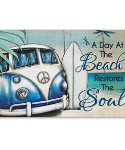A Day At The Beach Restores The Soul Hippie Car Poster