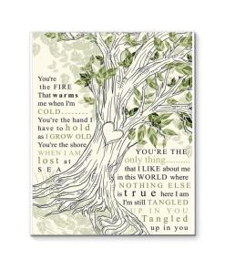 Aaron Lewis Tangled Up In You Lyric Heart Tree Canvas