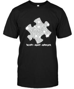 Accept Adapt Advocate Autism Puzzle Diamond Glitter Black T Shirt
