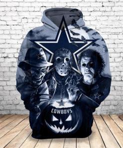Freddy Jason Michael Myers Love Dallas Cowboys Pumpkin Head Halloween 3d Hoodie