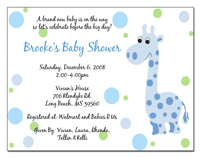 Invitation To Baby Shower Wording Boy