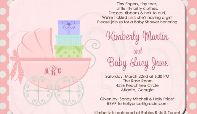 Sample Of Baby Shower Invitations Wording Showers Design