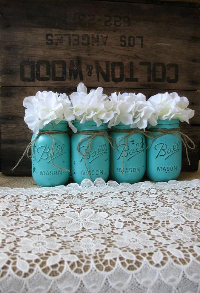 Mason Jars Painted Mason Jars Rustic Wedding
