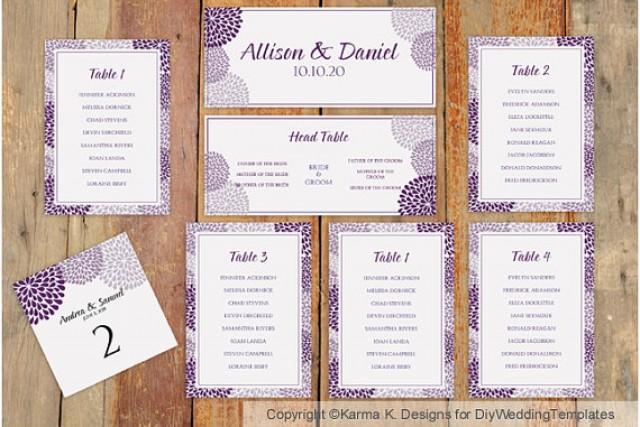 Wedding Seating Chart Template Download Instantly Chrysanthemum Plum Microsoft Word
