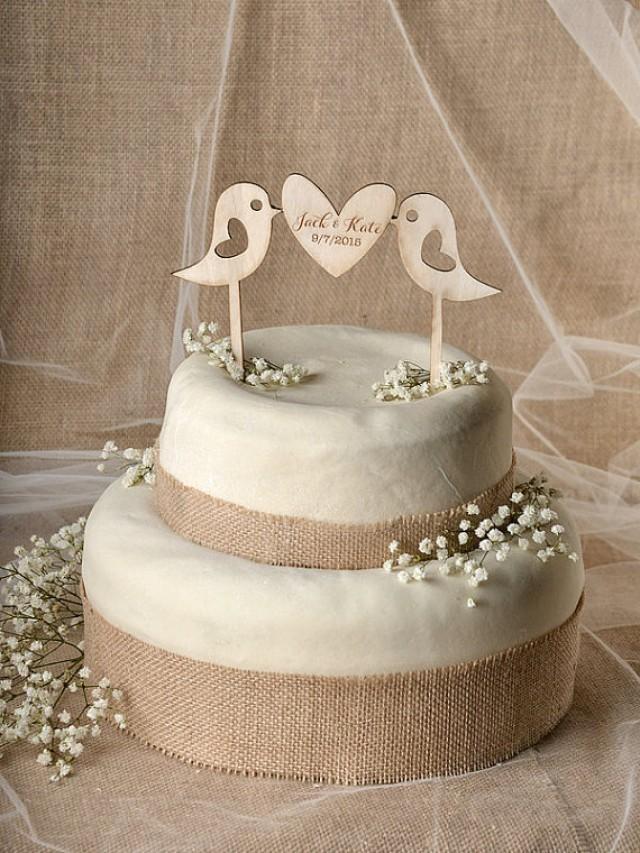 Rustic Cake Topper Wood Cake Topper Lovebirds Cake