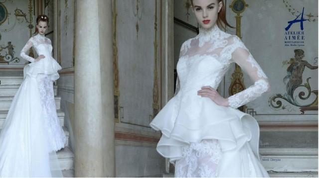 Long Sleeve Ruffle Wedding Dresses 2015 High Neck Organza
