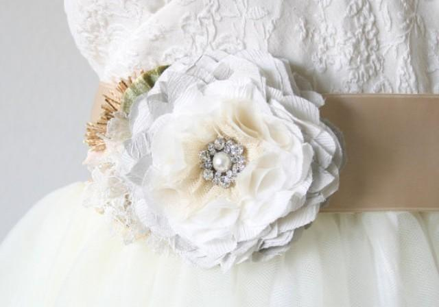 Wedding Dress Sash, Light Grey Sash, Floral Bridal Belt