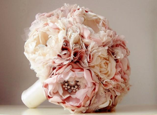 Fabric Flower Bouquet, Brooch Bouquet, Vintage Style
