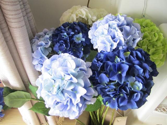10 Pcs Silk Hydrangea Flower With Stem 8 Colors Wedding