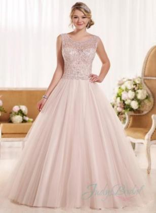 Princess Wedding Dress  9   Weddbook Illusion scoop neck beading embroidery princess ballgown wedding dress