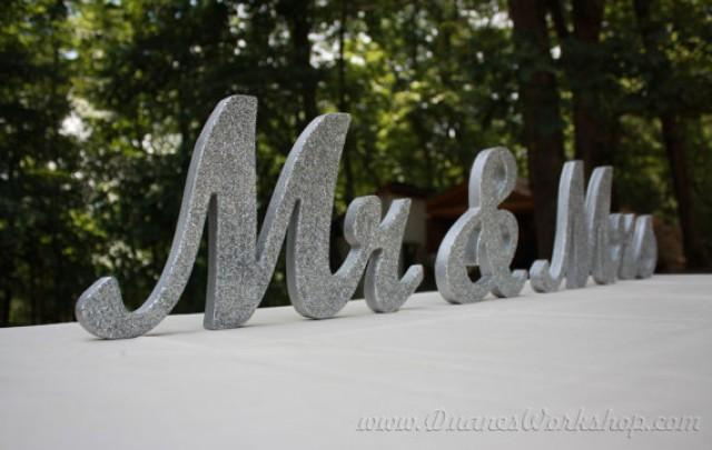 """8"""" Wooden Mr And Mrs Wedding Sign, Gold And Silver Glitter"""