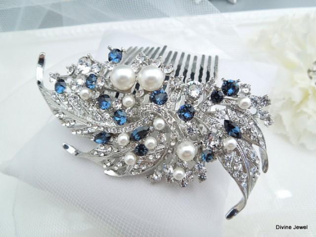 Blue Swarovski Crystal And Pearl Wedding Comb Wedding Hair