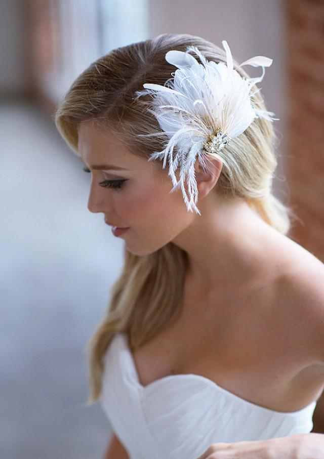 Ivory Bridal Hair Clip Champagne Feather Wedding