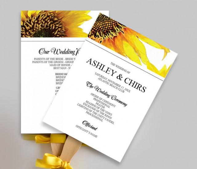 Printable Yellow Sunflower Wedding Program Fan DIY