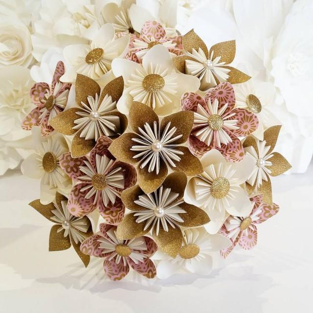 Paper Flowers Bouquet Origami Bridal Stationary UK Dusky