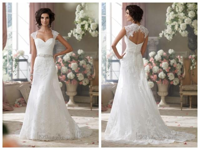 Cap Sleeves Slim A-line Sweetheart Lace Appliques Wedding