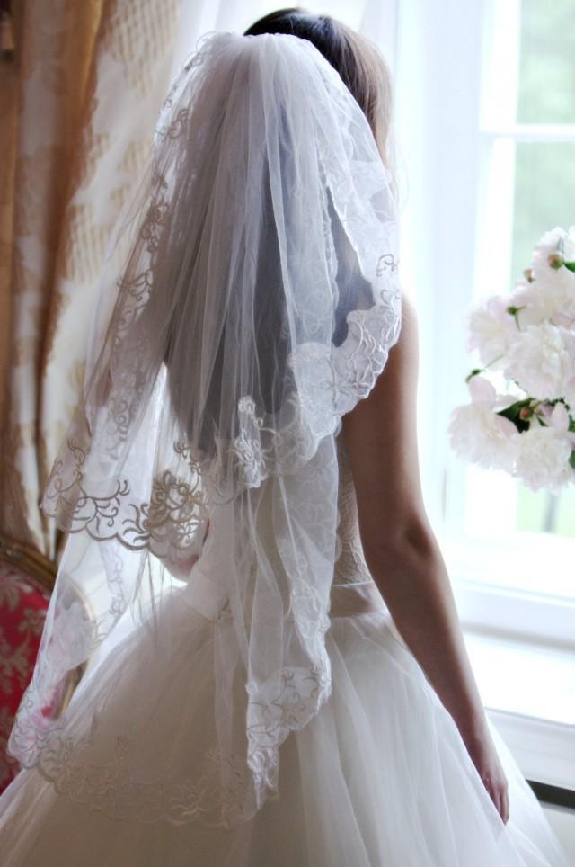 Lace Veil Short Two Tier Veil Fingertip Veil Bridal
